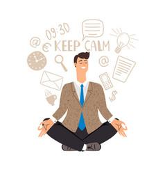 Businessman meditation icon vector