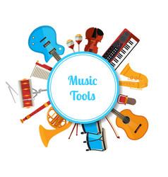 cartoon musical instruments circle vector image