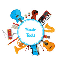 cartoon musical instruments circle with vector image