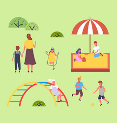 Children spending time at playground kids have vector