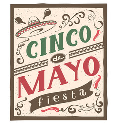 cinco de mayo fiesta lettering text retro flyer vector image