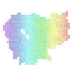 Colored cirle dot cambodia map vector