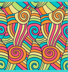 colorfu abstract waves pattern hand drawn spiral vector image