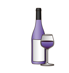 Colorful silhouette with bottle of purple wine and vector