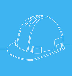 construction safety helmet line style icon vector image