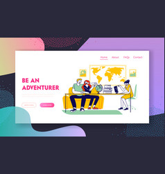 Couple visiting travel agency website landing page vector