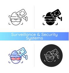 Criminal detection with surveillance camera icon vector