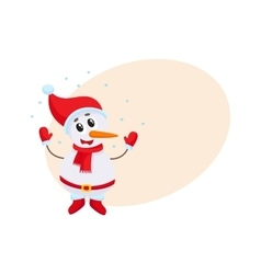 Cute and funny little snowman under falling snow vector