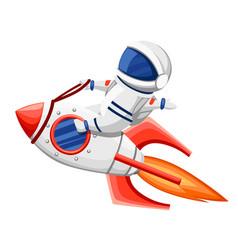 Cute astronaut astronaut sits on rocket vector