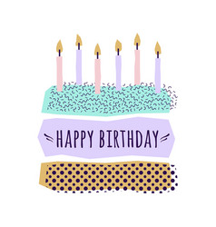 cute happy birthday card with cake candles and vector image