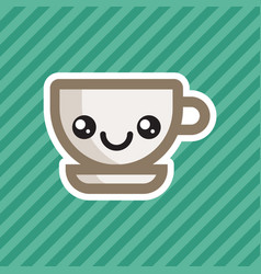 Cute kawaii smiling coffee cup cartoon icon vector