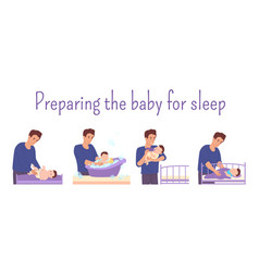 Dad prepares baby for bed changes diaper vector