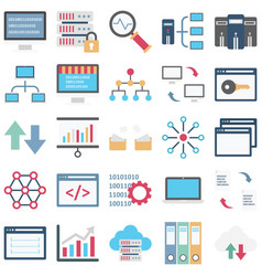 Data science color isolated icons set ever vector