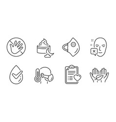do not touch fair trade and medical mask icons vector image