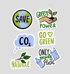 eco environment stickers set emblems vector image