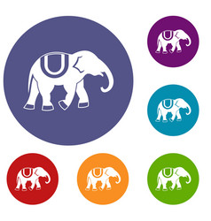 elephant icons set vector image