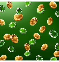 Falling green and gold chips vector