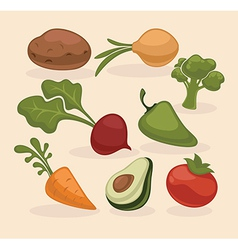 Farm vegetables collection vector