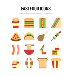 fast food icon in flat design for web design vector image