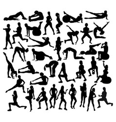 Fitness and gym exercises sport silhouettes vector