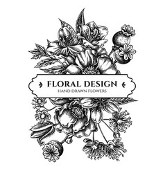 Floral bouquet design with black and white almond vector
