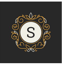 floral monogram classic ornament classic design vector image