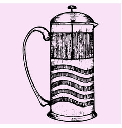 french press coffee or teapot vector image