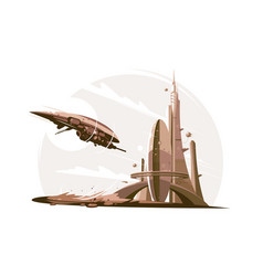 future architecture and spaceship in air vector image