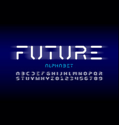 Futuristic style font design alphabet letters and vector