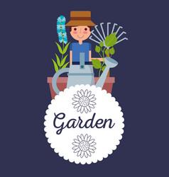 garden badge gardener man plant flower rake tool vector image