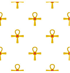 golden ankh symbol pattern seamless vector image