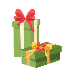 green packages decorated by red and yellow bows vector image