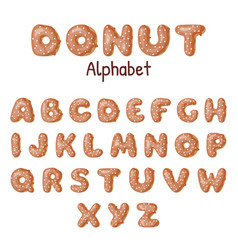 hand drawn donut alphabet donuts letters glazed vector image