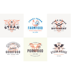 hand drawn logos and labels farm animals vector image