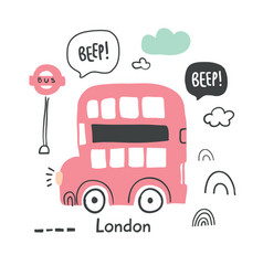 Hand drawn london red bus in scandinavian vector