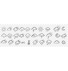 hand drawn weather conditions doodle set vector image