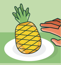 Hand grabbing pineapple vector