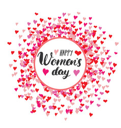 Happy womens day greeting card hand lettering vector