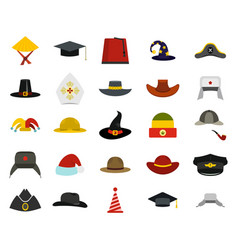 hat icon set flat style vector image