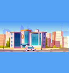 Hospital clinic building with ambulance car truck vector