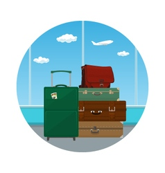 Icon Suitcases and Bag against the Window vector