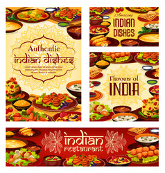 Indian cuisine food and desserts cafe menu vector