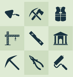 industry icons set with ax with pickax cushion vector image