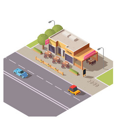 Isometric 3d cafe building with outdoor terrace vector