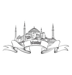 Istanbul landmark label travel turkey symbol vector