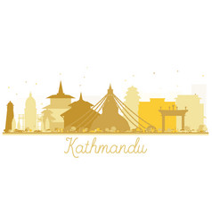 Kathmandu nepal city skyline golden silhouette vector