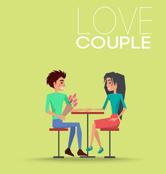love couple sitting on chair at table man flowers vector image