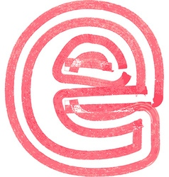 Lowercase letter e drawing with red marker vector