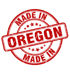 Made in oregon red grunge round stamp vector