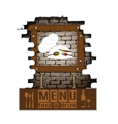 Menu brick wall frame wooden boards vector